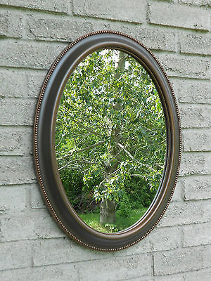 Wall oval mirror with oil rubbed bronze color frame. (bathroom,vanity mirror)