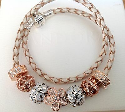 Genuine Pandora Double Champagne Leather Bracelet With Rose Gold Charms In Box