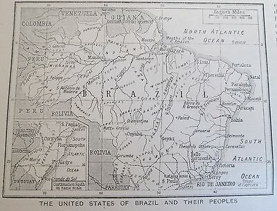vintage 1934  mini map of Brazil and its' peoples Native Indigenous Brasil