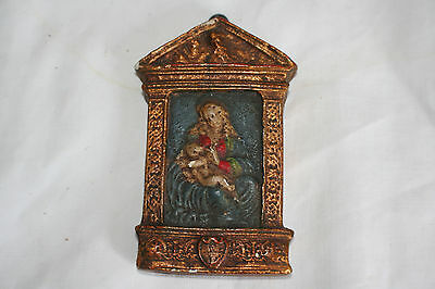 Small antique German painted plaster icon of Madonna and child