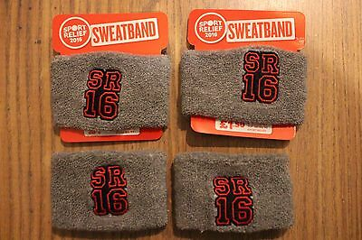 4 x Grey Sports Relief 2016 Wristbands Sweatbands - BNWT exercise fitness