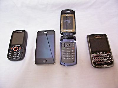 4 Untested Cell Phones for Parts/Repair/Blackberry/Iphone & More! FREE Shipping!