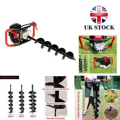 52CC Heavy Duty Petrol Earth Auger Post Hole Borer Digger & 3 Drill Bits NEW