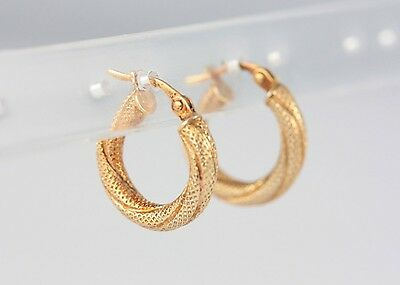 Small 9ct Yellow Gold Hoop Earrings UNOAERRE 1AR Arezzo Italy Twist Textured