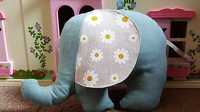 Handmade,linen, with daisies soft toy elephant or lovely room decoration