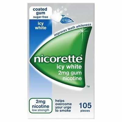 Nicorette Icy White 2mg Gum 105 pieces 1 2 3 6 12 Packs