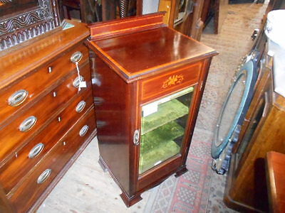 Antique Mahogany Victorian Inlaid Music Cabinet Shelves Sheet Music Records