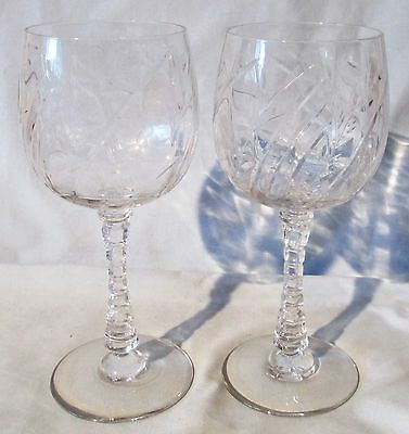 Libbey Rock Sharpe 1004 Alpine Water Goblet Stem Pair