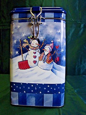 Snowman Images Square Lock Top Tin/Canister