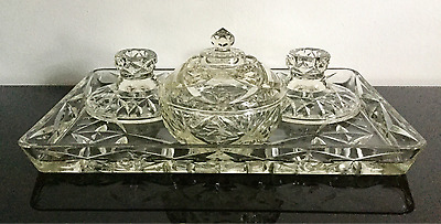 Vintage Clear Pressed Glass Vanity Set Tray Pair Of Candlesticks * Best Quality