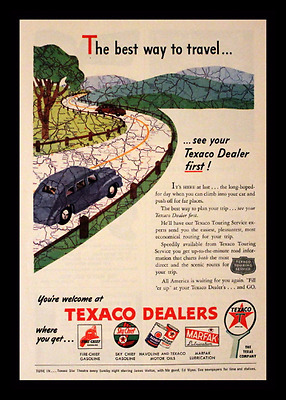 1946 Texaco Ad - Fire Chief - Sky Chief - Havoline - Marfak - The Texas Company