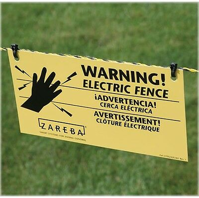 Yellow Electric Fence Warning Sign 3-Pack Set Outdoor Farms Animal Fencing Signs