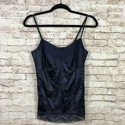 Fossil Womens Navy Blue Satin Lace Spaghetti Strap Camisole Size Small