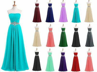 New Long Prom Dress Chiffon Bridesmaid Wedding Evening Formal Party Ball Gown