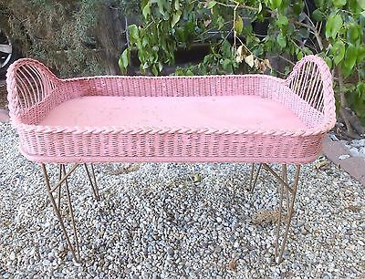 Vintage Pink Shabby WICKER BED TRAY Cottage Chic Country Apt Adorable