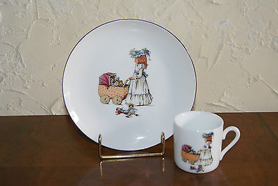 Childs Cup And Plate By Reutter Made In Germany With Child Pushing Carriage