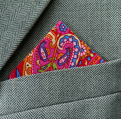 SUPERNOVA Red Psychedelic Paisley Pocket Square Handkerchief Scooter Mod 60s