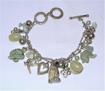 Vintage ANTIQUED BRASS & ECLECTIC ANIMAL-THEMED CHARM Bracelet
