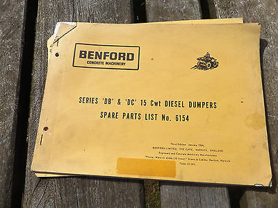 vintage old benford 15 CWT dumper spare parts list