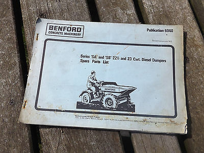 vintage old benford 22 - 23 CWT dumper spare parts list
