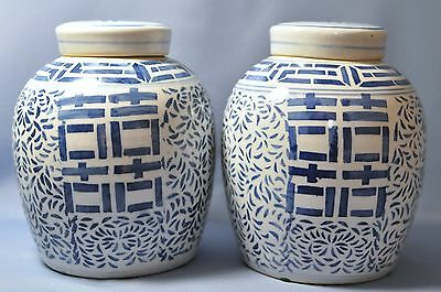 """Fine Old Chinese Blue and White Porcelain 10 1/4"""" Tall Pair of  Double Happiness"""