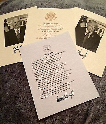 Official Donald Trump The Snake Poem 2017 Inauguration Invitation & Photo signed