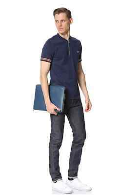 NWT Jack Spade Men's Grant Leather Wraparound Zip Portfolio in Blue