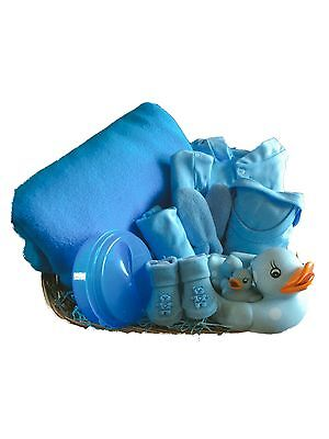 Newborn Baby Boy Christening Shower Gift Basket Clothes Bath Ducks