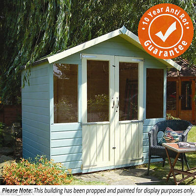 7x5 Wooden Summerhouse Bournemouth Summer House Shiplap with Apex Roof & Felt