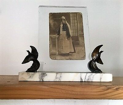 ART DECO Birds of Paradise Photograph Frame c1930's on marble base
