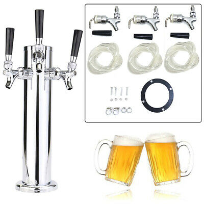 3 Triple Tap Draft Beer Stainless Steel Faucet Tower Home Brew Bar Kegerator HOT