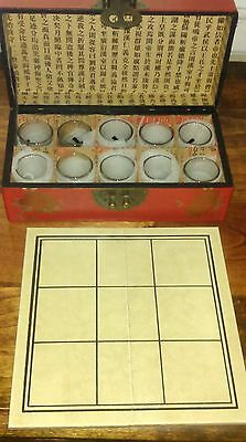 Vintage Asian Shot Glass Tic Tac Toe in Leather Box