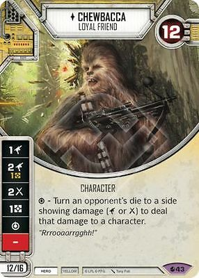 Star Wars Destiny 2x Chewbacca card + dice.