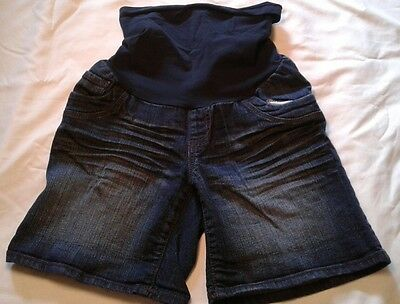 Motherhood Maternity Denim Shorts Small Over Belly Blue Dark Wash