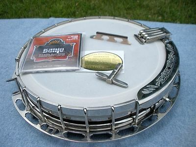 4 hole Gibson archtop tonering on COMPLETE 3 ply banjo rim assembly,