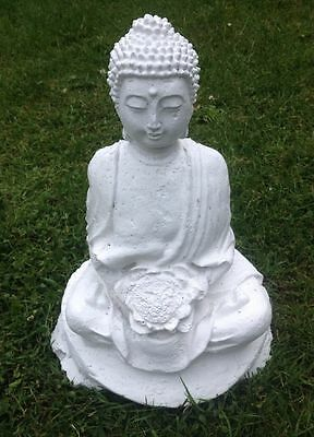 Garden Ornament White Buddhist Statue In Lotus Position With Lotus Flower.