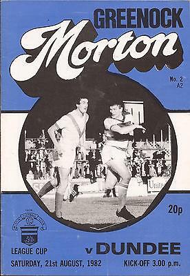 Football Programme - Morton v Dundee - Scottish League Cup 1982