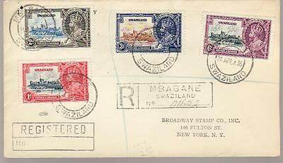 1936 Swaziland #20-23 on Mbabane Registered Cover to New York; Silver Jubilee *d