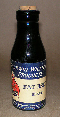 Vintage Sherwin Williams Cover The Earth SWP Hat Brite Dye Glass Bottle Cork Top