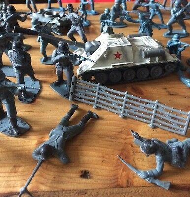 Corgi Tank And Lot Of Vintage Grey Plastic Soldiers And Accessories