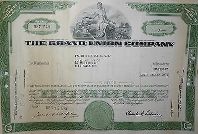 Grand Union Company Less Than 100 share Stock Certificate 1973 Collectors Item