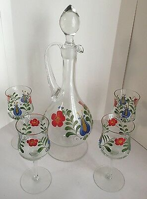 Vintage Floral Glass Liquor Decanter With Handle And 4 Wine Glass Set