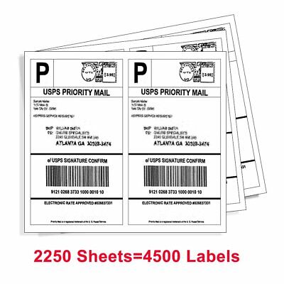 4500 Half Sheet Shipping Label 8.5 x 5.5 Self Adhesive 2 Per Sheet - USPS PayPal