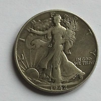 1942 Walking Liberty Half Dollar; USA; .900 Silver - ONE DAY AUCTION