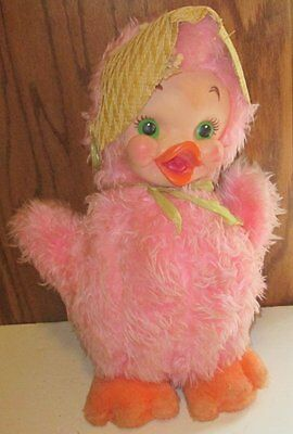 Vintage RUSHTON Plush CHICK Chicken pink RUBBER FACE stuffed Doll with hat 17""