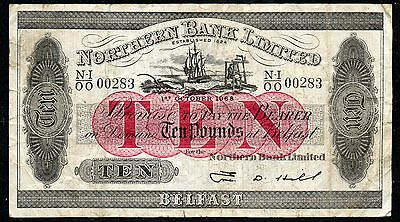 Northern Ireland - Old style - Northern Bank £10 note - 1968 - Hill - Last print