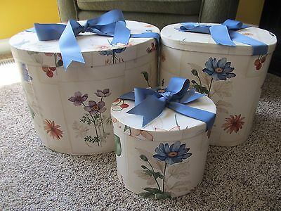 Set of 3 Floral Nesting Cloth Hat Boxes ~ Great Decorative Piece, One of a Kind