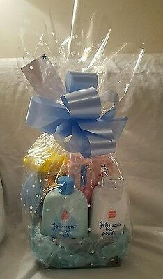 New Baby boy bath time baby shower gift set hamper Johnson's