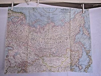 1967 National Geographic Map - Eastern Soviet Union - 19 x 24 1/2 inches