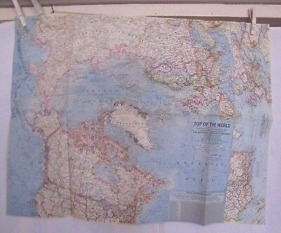 1965 National Geographic Map- Top of the World- Northern Hemisphere - 19 x 24 in